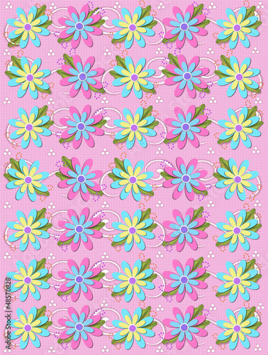 фотография  Blooming Petals on Pink Gingham