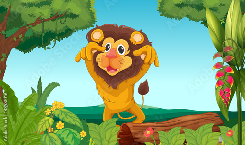 La pose en embrasure Forets enfants King lion in the woods