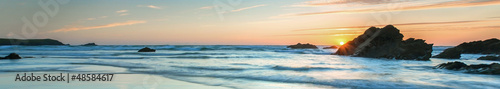 Foto-Leinwand - Sunset over Sea, colorful, very long panoramic