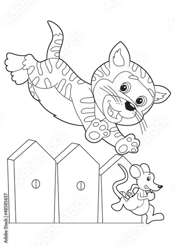 Spoed Fotobehang Doe het zelf The coloring plate - illustration for the children