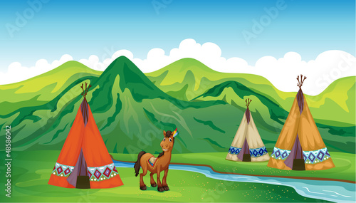 Canvas Prints Indians Tents and a smiling horse