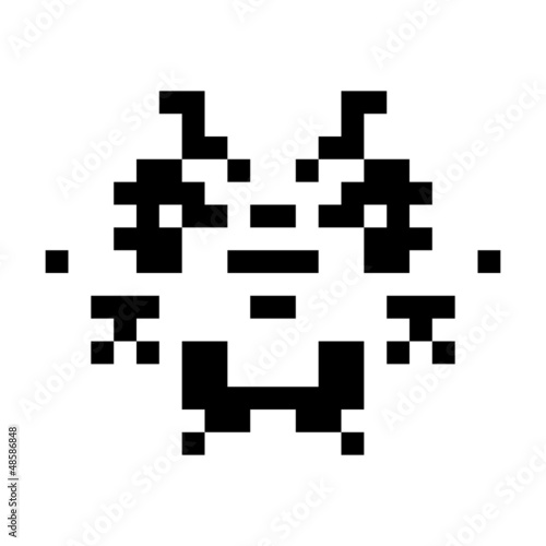Deurstickers Pixel simple monster pixel face