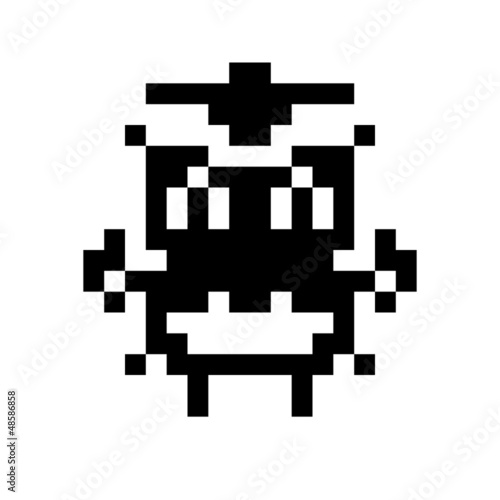 Poster de jardin Pixel simple monster pixel face