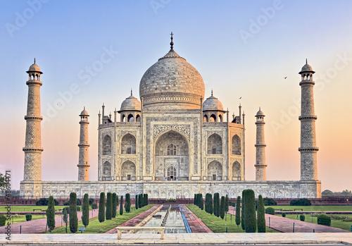 Taj Mahal bench at sunrise Wallpaper Mural