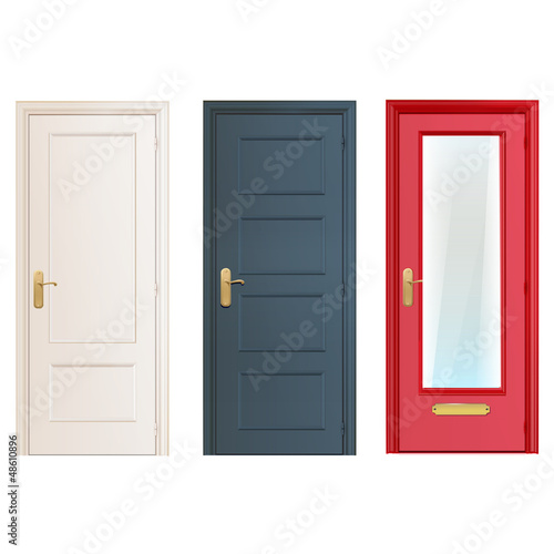 Fotografía  Collection doors isolated on white. Vector design.