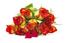 Red And Yellow Roses And Hearts