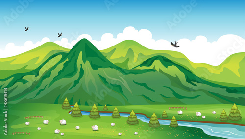 Wall Murals Birds, bees Sheeps, birds and a beautiful landscape