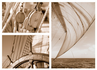 Fototapeta Żagle Ropes and Rigging on a sail ship