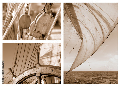 Ropes and Rigging on a sail ship © Alvov
