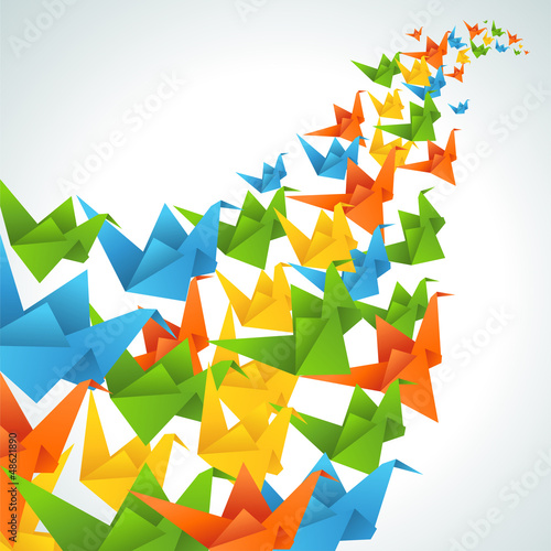 Tuinposter Geometrische dieren Origami paper birds flight abstract background.
