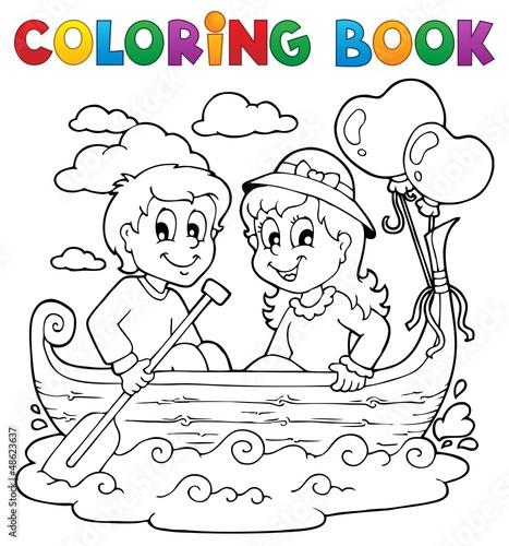 Spoed Foto op Canvas Doe het zelf Coloring book love theme image 1