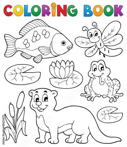 Tuinposter Doe het zelf Coloring book river fauna image 1