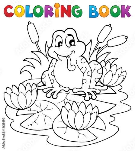 Spoed Foto op Canvas Doe het zelf Coloring book river fauna image 2