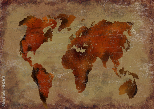 Autocollant pour porte Carte du monde Ancient worls map