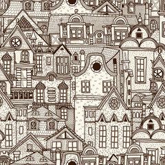 Obraz Hand-drawn seamless pattern with old town