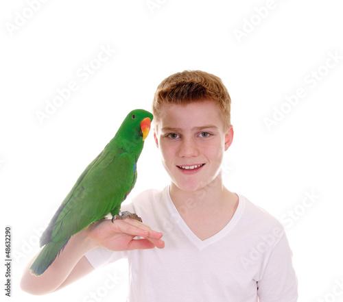 Foto-Flächenvorhang ohne Schienensystem - Junge mit Papagei auf der Hand (von grafikplusfoto)