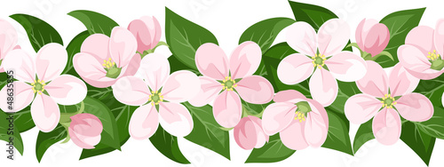 Vector horizontal seamless background with apple blossoms.