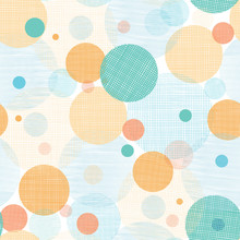 Vector Fabric Circles Abstract Seamless Pattern Background With