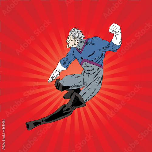 Poster Superheroes Vector illustration of comic book superhero