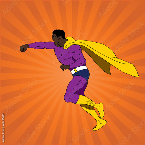 Photo Stands Superheroes Vector illustration of comic book superhero