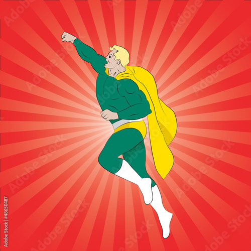 La pose en embrasure Super heros Vector illustration of comic book superhero