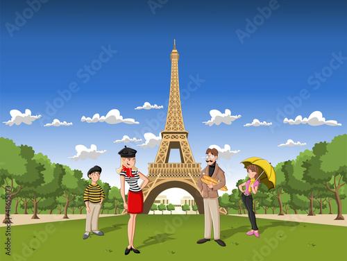 Modna francuska rodzina kreskówek w Paryżu z Wieżą Eiffla