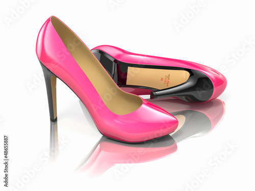 Fotografia  Pink high heels shoe. 3d