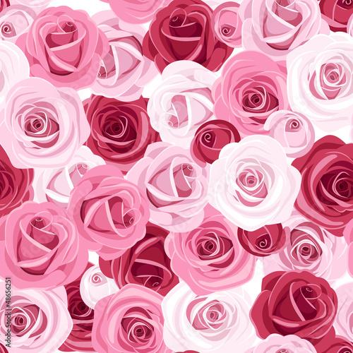 Naklejka dekoracyjna Seamless background with colored roses. Vector illustration.