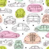 Seamless vintage oldtimer car background pattern in vector
