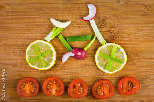 Fototapety, obrazy: Healthy lifestyle concept - vegetable bike