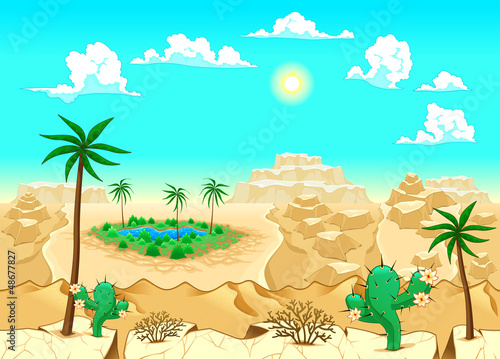 Poster Turquoise Desert with oasis.
