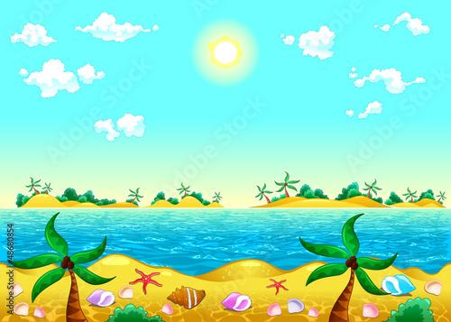 Tuinposter Lichtblauw Seashore and ocean.