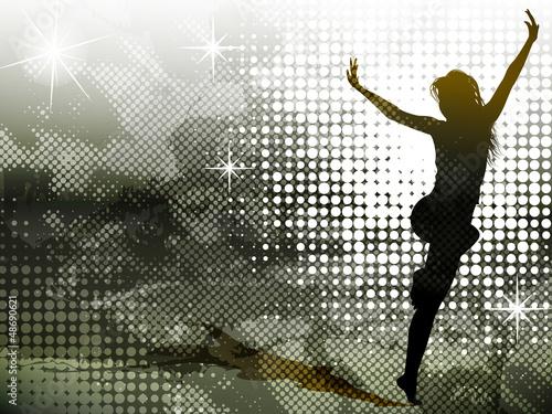 Obraz w ramie Background with jumping girl