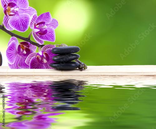 Plissee mit Motiv - orquídea con piedras y reflejo en agua