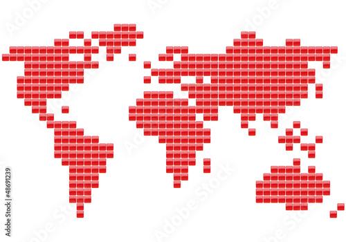 Poster Carte du monde Planisphère Carrés rouges