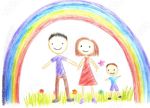 In de dag Regenboog kids drawing happy family