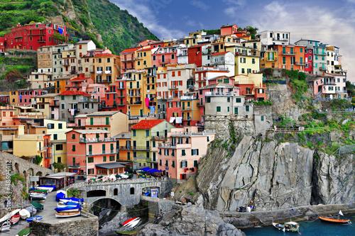 Spoed Foto op Canvas Grijze traf. scenic Italy. Monarolla village, Cinque terre