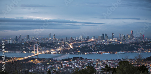 Obraz na plátne Bosphorus and bridge at night, Istanbul