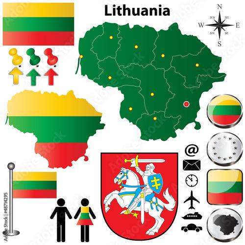 Türaufkleber Weltkarte Lithuania map