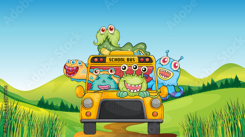 Aluminium Prints Creatures Smiling monsters and school bus