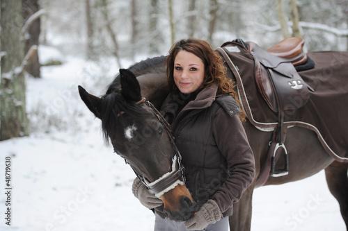 Garden Poster Horseback riding cavalière