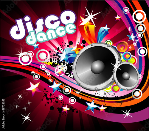 Disco Colorful Flyer Background - 48728055
