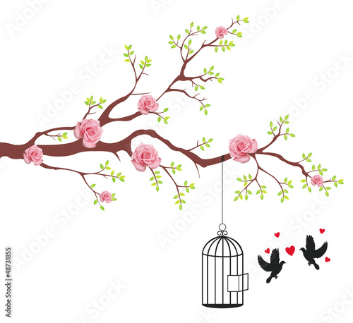 Poster Birds in cages Bird of freeing from the cage to it's lover