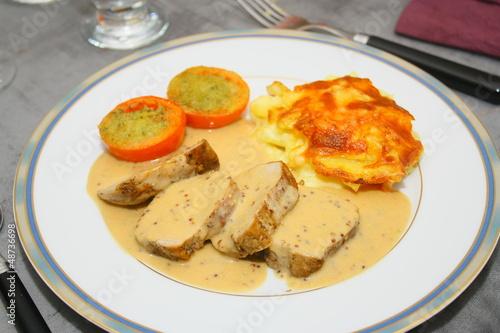 Foto  filet mignon de porc à la moutarde