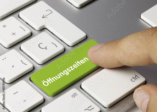 Fotografie, Obraz  Öffnungszeiten Tastatur. Finger