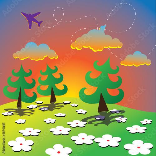 Papiers peints Avion, ballon Cartoon Spring Landscape