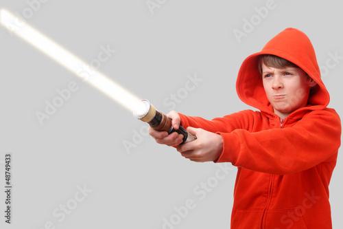 Boy with lightsaber Wallpaper Mural