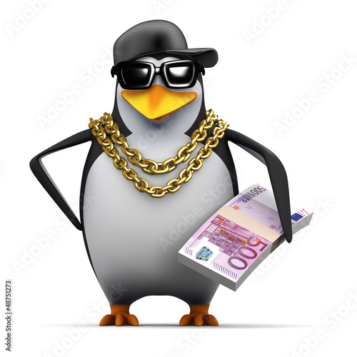 Fotografie, Obraz  Penguin rapper has a was of Euros