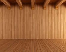 Empty Wooden Room With Ceiling...