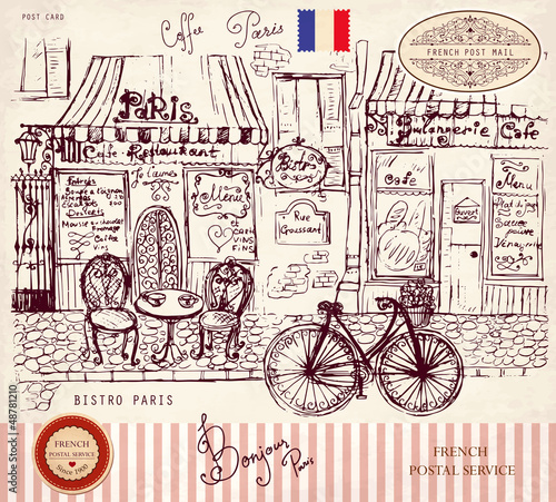 Foto auf AluDibond Gezeichnet Straßenkaffee Vector hand drawn card with Paris symbols